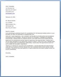 Business Analyst Cover Letter Business Analyst Has An Accompanying