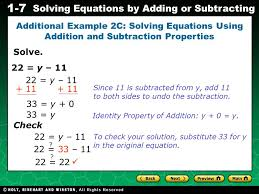evaluating algebraic expressions 1 7 solving equations by adding or subtracting solve