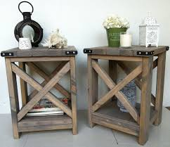 amazing rustic accent tables popular light brown x table for 16 rustic end tables plan