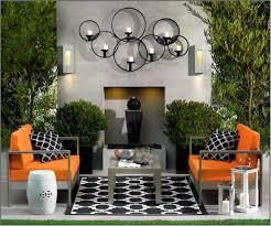 outdoor canvas art. Elegant Modern Outdoor Wall Art Ideas Contemporary Unique Exterior Design Arrangement Orange Chair Plants Garden Canvas