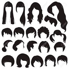 髪のシルエット女性と男性の髪型のイラスト素材ベクタ Image 27773026