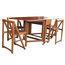 folding chairs wood dining. captivating folding table and chair sets vintage 68quot wood dining with four chairs set at 1stdibs g