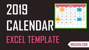 2019 Excel Calendar Template Free Download