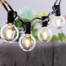 25ft Clear Globe Bulb G40 String Light Set With 25 G40 Bulbs Included Patio Lights Patio Lights G40 Bulb String Lamp Led Patio String Lights Globe
