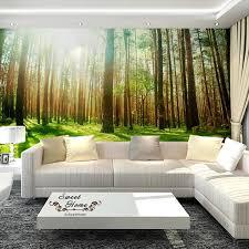 green forest sunshine full wall mural
