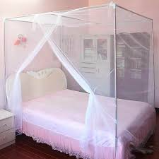Details about 5ft 4 Corner Cover Post Bed Canopy Mosquito Net Queen Size Bug Protection