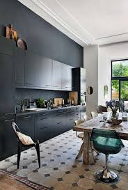 Kitchen: Sleek Balck Kitchens With Traditional Accent - Bachelor Pad Kitchen
