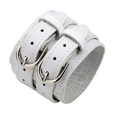 double layer wide leather bracelet for women and men white