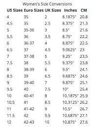 Standard Size Chart For Shoes Shoe Size Chart Secret Stash