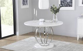 savoy round white high gloss and chrome dining table with 4 perth black chairs only 499 99 furniture choice