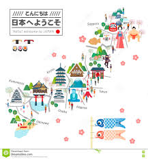 japan travel map stock illustration image of heritage