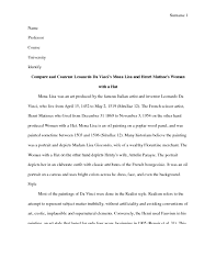 mona lisa essay i need a compare and contrast essay pages comparing this