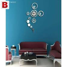 Small Picture 3D Home Wall Stickers DIY Mirror Wall Clock New Karachi