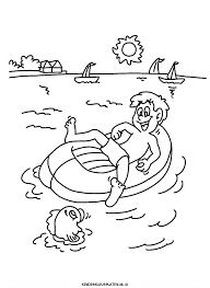Kleurplaat Vaderdag Papa Relaxen Opblaasboot Feestdagen