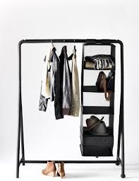 ... Wardrobe Racks, Ikea Garment Rack Wooden Clothing Rack Creative Hanging  Shelf On Black Metal Clothing ...