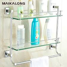 glass bathroom shelf with chrome rail wall mount towel bar and finish whole brass base tempered