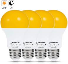 Led Yellow Bug Light Lohas A19 Dusk To Dawn Yellow Bug Light Bulb Led Amber Yellow Bug Sensor Light 40w Equivalent E26 Security Auto On Off Led Bulb 500lm Yellow Bulbs