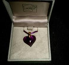 details about lalique deep purple crystal 3 4 heart necklace pendant satin cord metal ends