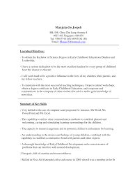 Early Childhood Education Skills Resume Free Resume Example And
