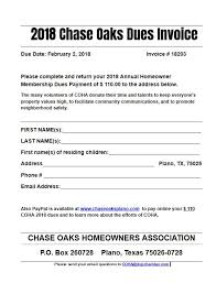 Homeowners Association Dues Invoice Template Tirevi
