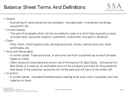 definitions of balance sheet financial training update ppt download