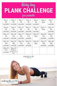 Plank Exercise Chart 30 Day Plank Challenge Chart