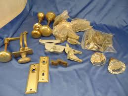 details about lot door knobs glass brass latches knob plates key plates all metal parts repair