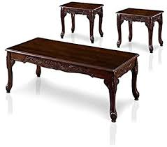 Furnituremaxx roundhill furniture oe0017br traditional ornate detailing wood end table, dark cherry. Amazon Com Furniture Of America Alice 3 Piece Wood Coffee Table Set In Dark Cherry Furniture Decor