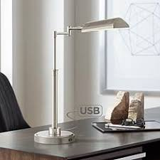 modern office lamps. Rivera Swing Arm LED Desk Lamp With USB Port Brushed Nickel Modern Office Lamps S