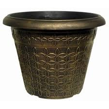 32l black bronze large plant pot round tall plastic planter outdoor garden pots