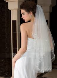Two Tier Cut Edge Fingertip Bridal Veils With Beading Faux Pearl