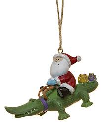 amazon cape s santa riding alligator gator with gifts holiday ornament home kitchen
