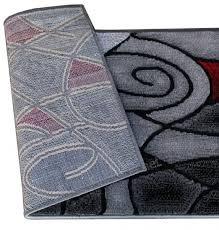 Masada Rugs Modern Contemporary Runner Area Rug Red Grey Black 32 Inch X 15 Feet 6