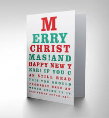 Card Christmas Eye Chart Funny Another Drink Year Cp3081
