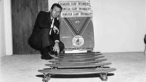 In 1963, Larry Stevenson started Makaha skateboard company to mass-produce  his surfboard shaped skateboard design. The unique shape offered a better  ride on ...