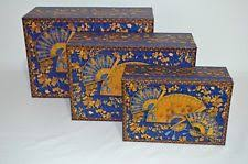 Decorative Stacking Boxes Fan Art Blue Gold Pooch and Sweatheart