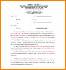 Example Of Divorce Decree Delectable Divorce Agreement ExamplesDecree Of Divorce Agreement Templatejpg