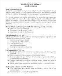 Personal Assistant Job Description Template Care Resume C Pa