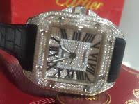cartier watches for gumtree mens cartier santos 100 iced out diamond fully iced watch new box papers tags