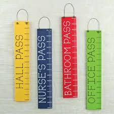 Hall Passes For School Set Of 4 Wooden School Passes Ruler Themed Office Hall Nurse And