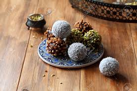 Vegan Chocolate Cake Pops Sprinkled With Pistachios Walnuts Stock