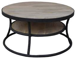 classic round wooden coffee table with middle shelf rustic coffee tables by nach