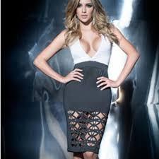 Mapale 4445 Dress Black White Plunge Cutouts New Boutique