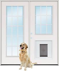 dog doors for french doors. 15-Lite/9-Lite Steel Patio Prehung Double Door Unit With Pet Dog Doors For French A