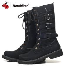 2019 herobiker motorcycle boots men motocross boots moto protective shoes retro artificial leather motorbike riding accessories from mumianflo