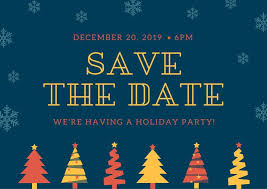 Christmas Party Save The Date Templates Blue Red And Yellow Christmas Party Save The Date Postcard