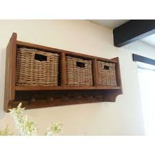 Coat Rack With Storage Baskets Reclaimed Teak Coat Hook Storage Unit 100 Baskets Hallway 22