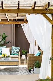 outdoor curtains for pergola white curtains style simple creative rattan furniture bulb lighting design elegant and modern