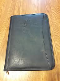 details about leed s zippered black leather portfolio organizer brand new