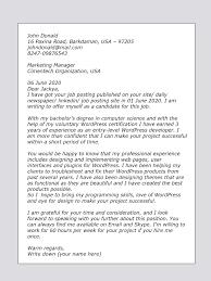 Online Job Cover Letter Upwork Cover Letter Sample For Wordpress Developer Upwork Help